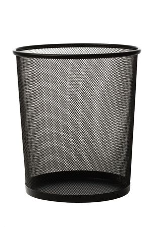 garbage disposal: Empty black metallic office trash basket isolated on white