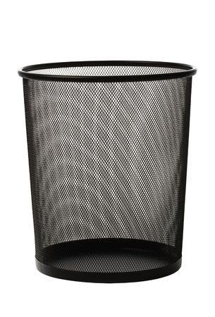 Empty black metallic office trash basket isolated on white
