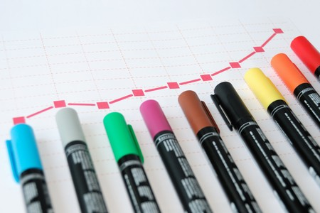 vertical bars: red graph with colour markers serving as vertical bars