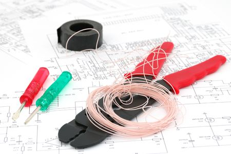 cabling: Screwdrivers, wires, a tool for cabling, electric schemes
