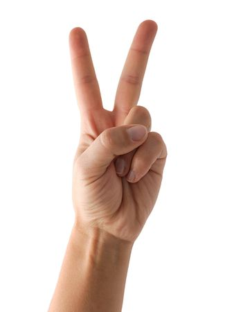 victory sign: Hand showing victory sign or counting two isolated on white Stock Photo