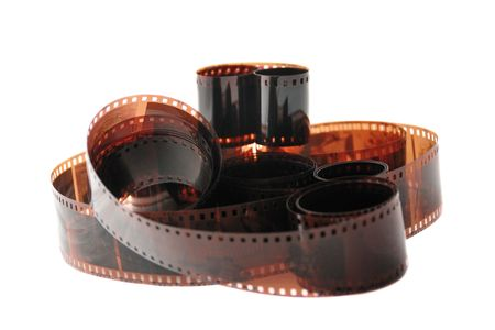35 mm: Heap of color filmstrips with family photos Stock Photo