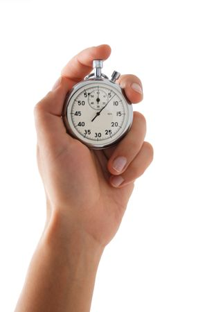 Running stopwatch in the hand, vertical composition, isolated on white Stock Photo