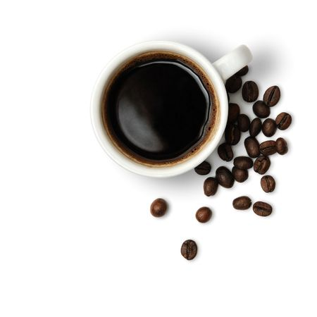 Cup of hot flavoured coffee and beans isolated on white