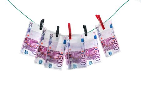 underhand: 500 euro banknotes hanging on a clothesline. Money laundering.