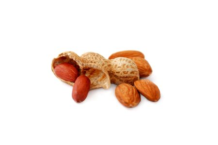 Almonds and peanuts isolated on white background Stock Photo - 6636054