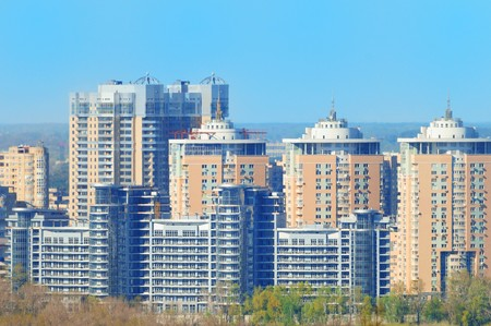 New living high-rises in the city during sunny day