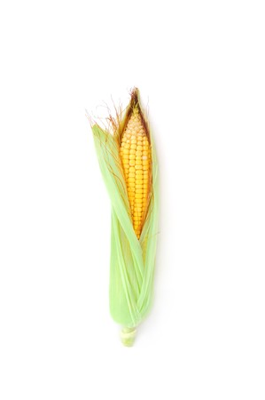 Fresh raw corn ear with green leaves isolated on white Stock Photo - 7576634