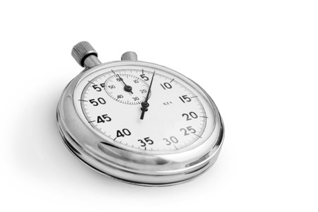 Zilveren stopwatch geïsoleerd op witte achtergrond