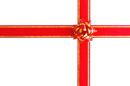 Red ribbon and bow for gift isolated on white background photo