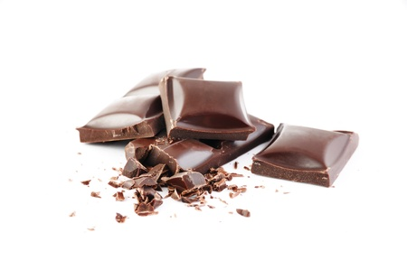 Crushed chocolate bars with grit isolated on white background Stok Fotoğraf