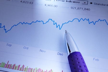 Business chart showing the economic growth and a pen Stok Fotoğraf