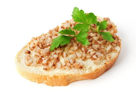 shortfall: Sandwich made of bread with butter and buckwheat. Concept of food deficit.