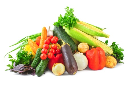 Variety of vegetables including tomatoes, eggplants, potato, corn, peppers and carrot