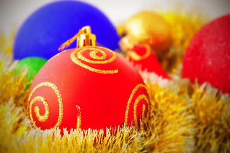 vignetting: Christmas or New Year background with decorative baubles. Shallow DOF. Vignetting.