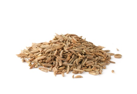 Pile of cumin seeds isolated on white background Stock Photo - 11995290