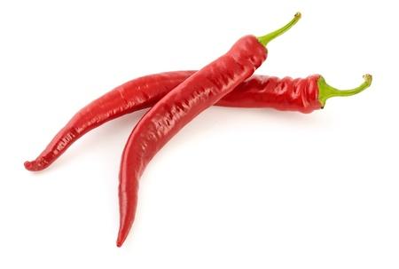 chiles picantes: Pareja de recién Hot Chili Peppers en el fondo blanco con la sombra suave Foto de archivo