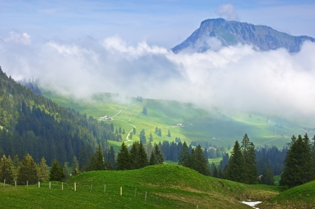 Mountain landscape, early morning high in the Swiss Alps Stock Photo - 15540298