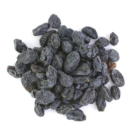 raisins: Heap of blue raisin isolated on white