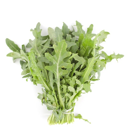 Bunch of fresh green rukola on white background Stock Photo - 16302243