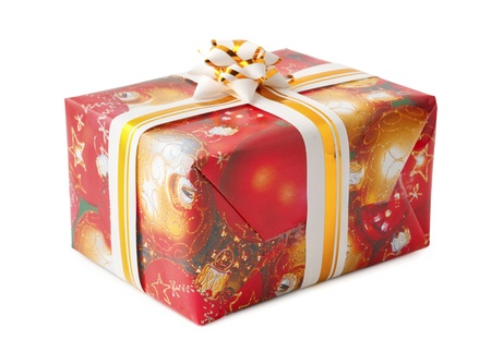 decorated christmas gift box with bow isolated on white background with clipping path stock photo