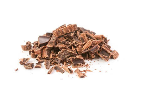 endorphines: Heap of chocolate shavings isolated on white Stock Photo