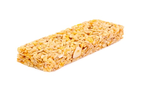 cereal bar: Single cereal bar isolated on white