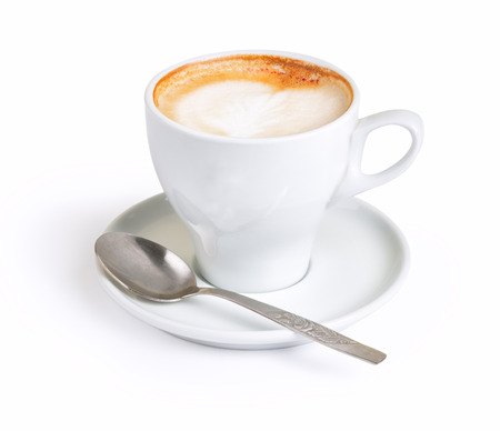 White cup of cappuccino with foam isolated with clipping path Stok Fotoğraf