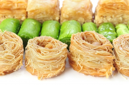 arabian food: Sweet honey baklava of different kinds
