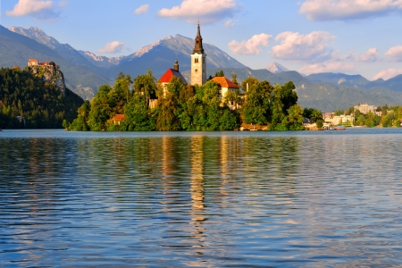 Beautiful monastery on the island in the middle of the Bled lake in Slovenia Editöryel
