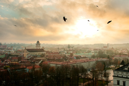 Vilnius old city panorama at sunset, view from Gediminas tower photo