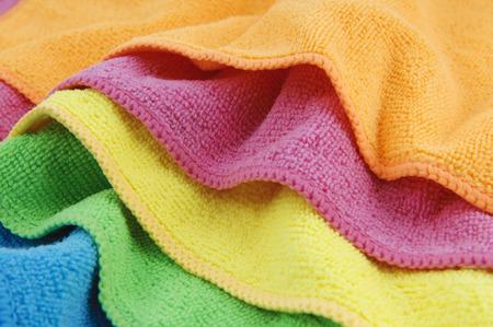 microfibra: Limpiador de microfibra de colores de fondo de textiles Foto de archivo