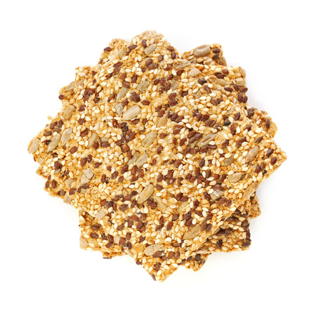 flax seeds: Healthy crisp cereal cookies with different seeds