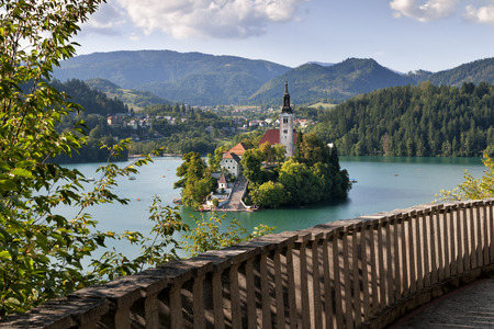 bled: Beautiful island on the Bled lake in Slovenia