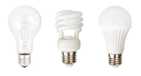 fluorescent lamp: Incandescent, halogen and LED lamps isolated on white background Stock Photo