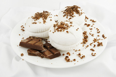grit: White marshmallow dessert dusted with chocolate grit Stock Photo