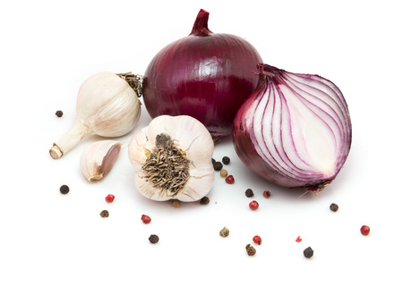 onion: Garlic, red onions and peppercorn isolated on white background