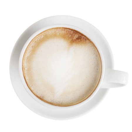 Cappuccino kop met schotel die op wit met het knippen van weg. Bovenaanzicht
