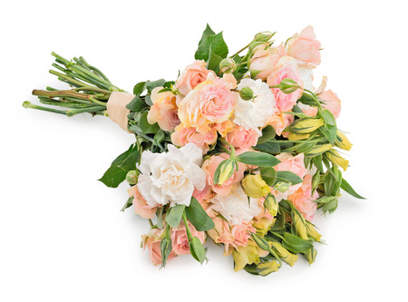 Beautiful wedding bouquet of roses and eustoma flowers isolated on white background