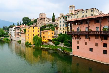 grappa: Colorful architecture of Bassano del Grappa, Italy Stock Photo