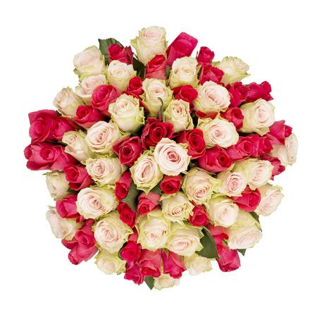 rosas rojas: Gran ramo de rosas rojas y rosadas, vista superior