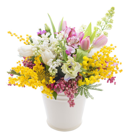 Beautiful bouquet of spring flowers in a can isolated on white background Stok Fotoğraf
