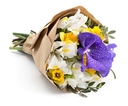 Wrapped bouquet of beautiful spring flowers Standard-Bild