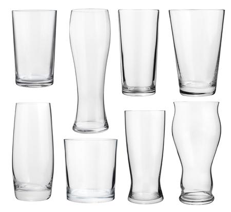 알코올과 청량 음료에 대한 빈 안경 컬렉션