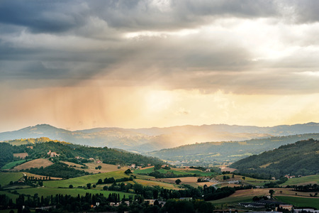 umbria: Evening landscape in Umbria countryside, Italy Stock Photo