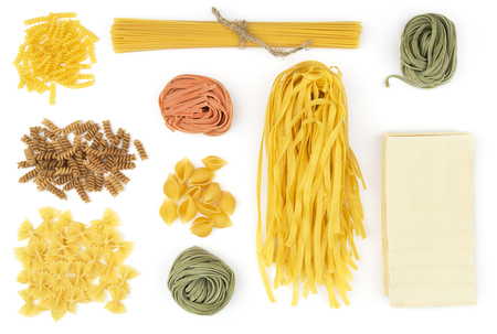 Different type of pasta on white background