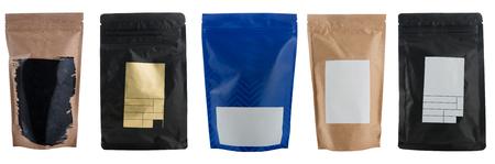 화이트 절연 다른 공예 커피 가방 세트 스톡 콘텐츠