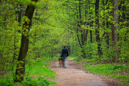 Kyiv, Ukraine. Unrecognizable girl walking with her dog in the green spring park