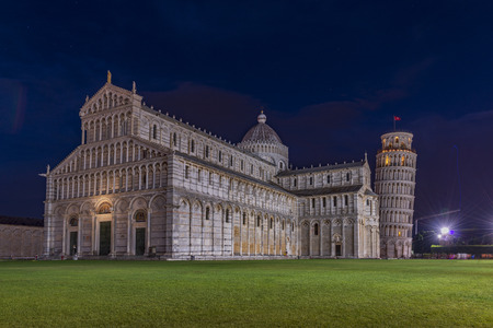 Pisa tower, baptistery and cathedral at night. World known tourist attraction, symbol of Italy
