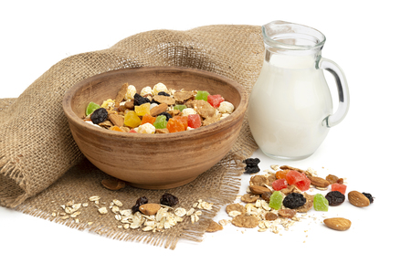 Healthy breakfast with granola, dried fruits and milk Stock Photo